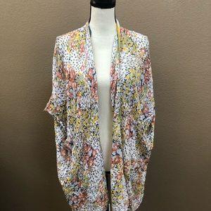 Loft floral multi color open kimono Sz 16/18
